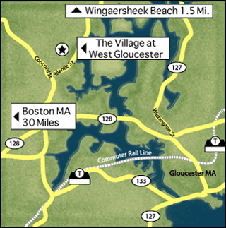 Map of Cape Ann and The Village at West Gloucester
